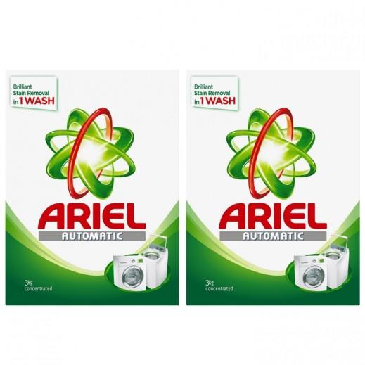 """آريال – مسحوق الغسيل الأخضر للغسالات الأوتوماتيك """" عطر أصلي """" 3 كجم × 2 حبة"""