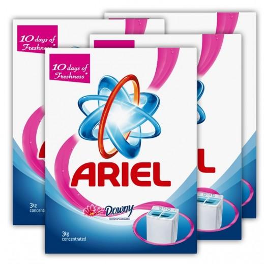 """آريال – مسحوق الغسيل الأزرق للغسالات العادية """" لمسة داوني """" 3 كجم × 4 حبة - أسعار الجملة"""