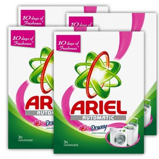 """آريال – مسحوق الغسيل الأخضر للغسالات الأوتوماتيك """" لمسة داوني """" 3 كجم × 4 حبة - أسعار الجملة"""