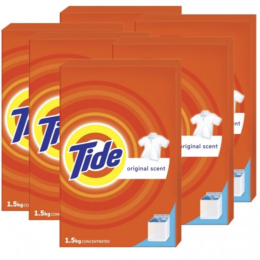 تايد - مسحوق الغسيل بالعطر الأصلي للغسالات العادية 1.5 كجم × 6 حبة - أسعار الجملة