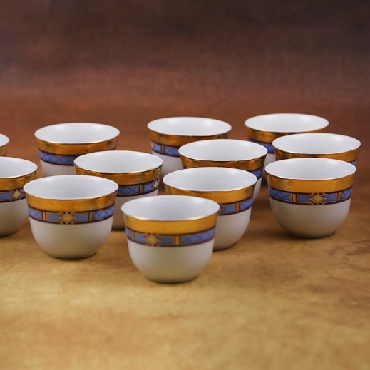 توجنانا – طقم فناجين قهوة بتصميم أزرق وذهبي 12 قطعة