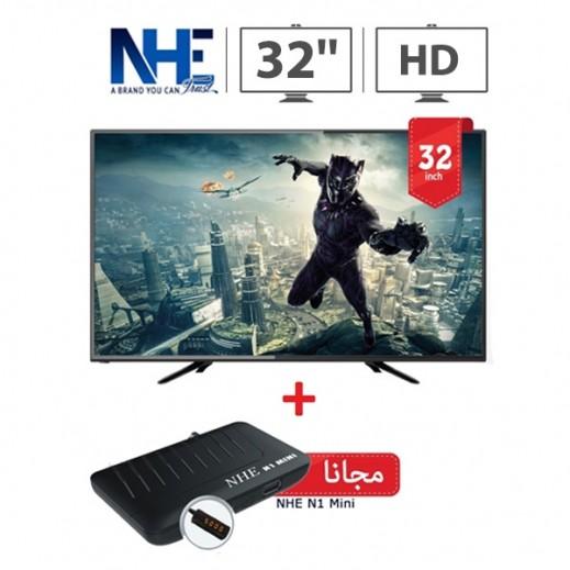 """إن إتش إي – تلفزيون ذكي 32 بوصة HD LED أسود + ريسيفر Mini N1 """"مجانا"""" - يتم التوصيل بواسطة Nasser Alhusainan"""