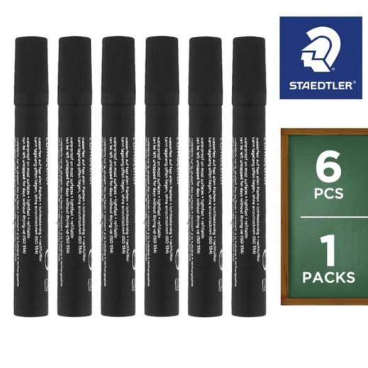 ستدلر – أقلام تعليم بحبر ثابت – أسود (6 أقلام) – عرض التوفير
