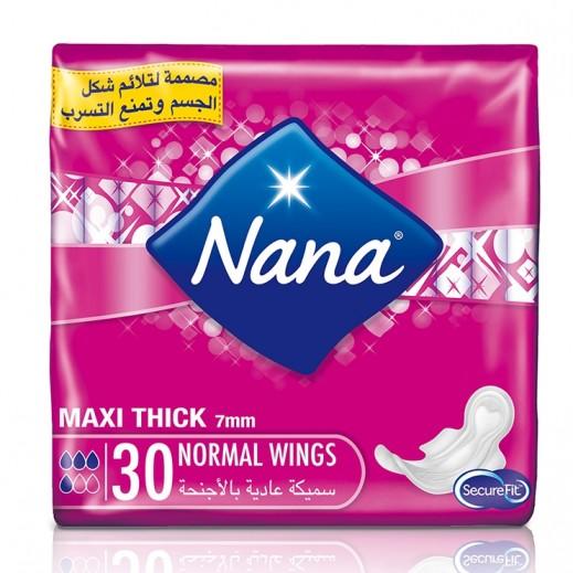 """نانا – فوط صحية """" ماكسي بلس """" حجم عادي بالأجنحة 30 حبة"""