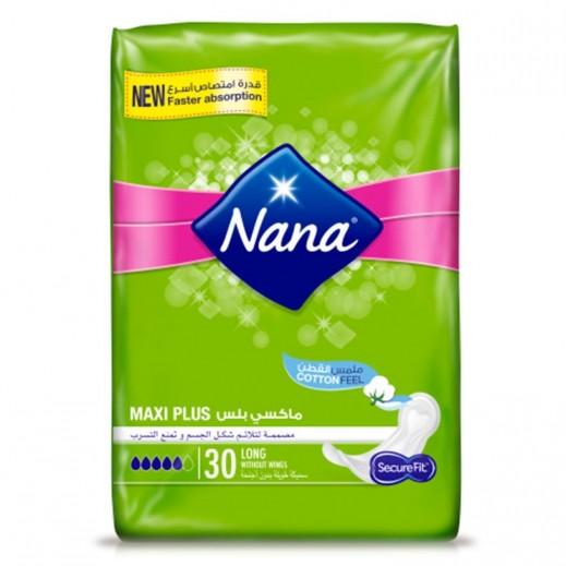 """نانا – فوط صحية """" ماكسي بلس """" حجم عادي بدون أجنحة 30 حبة"""