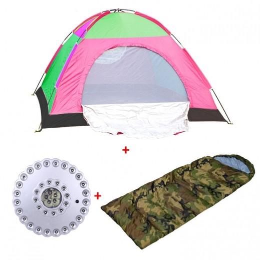 باقة المخيم (خيمة + كيس للنوم + مصباح للتخييم)