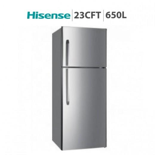 هايسينس – ثلاجة بمجمد علوي 23 قدم / 650 لتر - فضي - يتم التوصيل بواسطة AL ANDALUS TRADING COMPANY