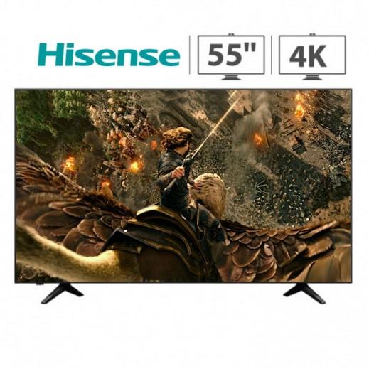 هايسنس – تلفزيون ذكي 55 بوصة 4K HDR LED – أسود - يتم التوصيل بواسطة AL ANDALUS
