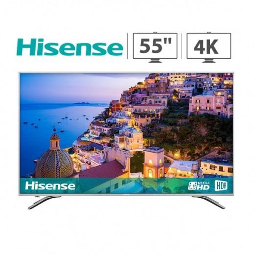 هايسنس – تلفزيون ذكي 55 بوصة UHD 4K HDR LED – فضي - يتم التوصيل بواسطة AL ANDALUS