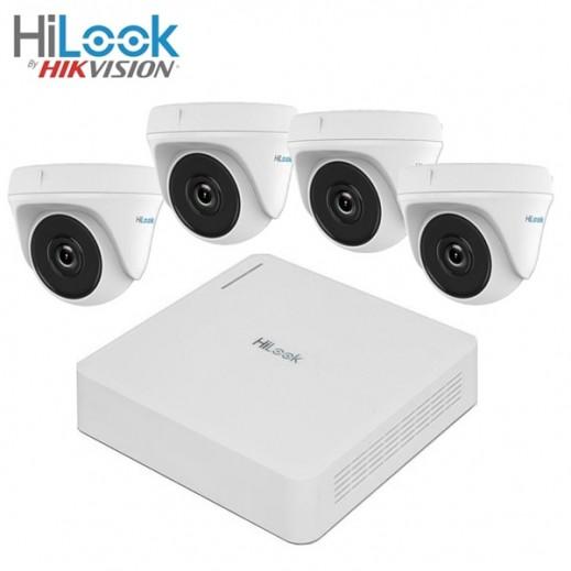 هاى لوك – مجموعة كاميرات (4 قناة) للمراقبة والتصوير عالي الدقة 1 ميجابكسل - ابيض