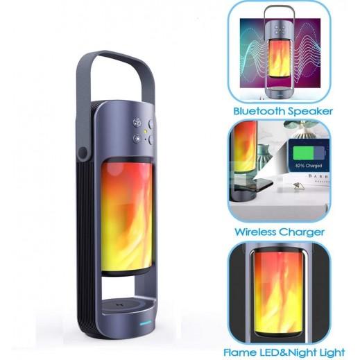 ألفا - مكبر صوت بلوتوث محمول بإضاءة LED مع شاحن لاسلكي 10 واط – رمادي
