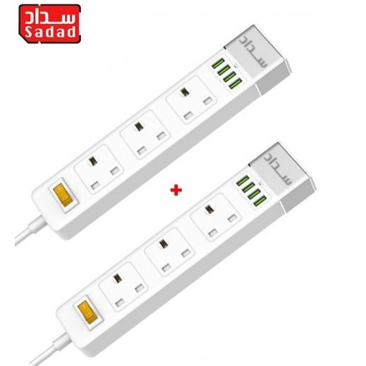 سداد – محول كهربائي 4 منافذ USB و 3 مقبس – ابيض ( 2 حبة)