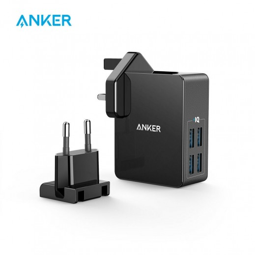 """أنكر – شاحن كهربائي """"باور بورت"""" 4 منافذ USB بقوة 8 أمبير – أسود"""