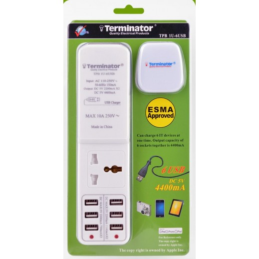 ترمونيتر - وصلة مقبس طاقة عالمي أحادية الاتجاه مع 6 منافذ USB بطول 2 متر - ابيض