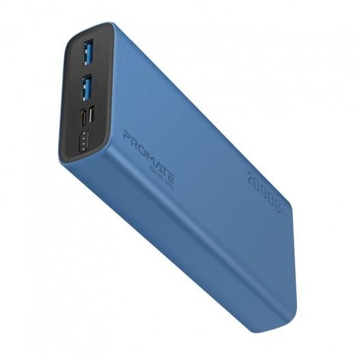 بروميت - بطارية احتياطية ليثيوم بوليمر USB مزدوج سعة 20000 مللي امبير - ازرق