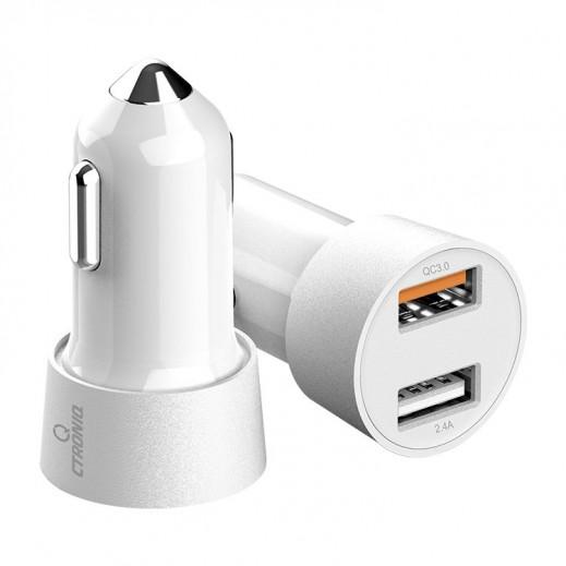 كترونيك - شاحن سيارة QC 3.0 بمنفذين USB مع مؤشر شحن LED Vimba CC12 - أبيض