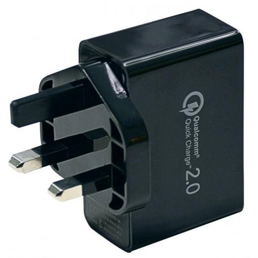 إكو - شاحن حائط ثنائي المنفذ USB بتقنية QC 2.0 - أسود