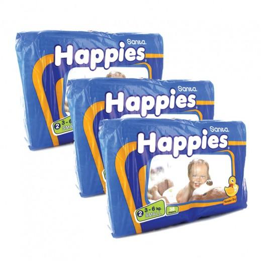 هابيز حفاضات أطفال حجم صغير (3 عبوة × 38 حفاضة) - عرض التوفير