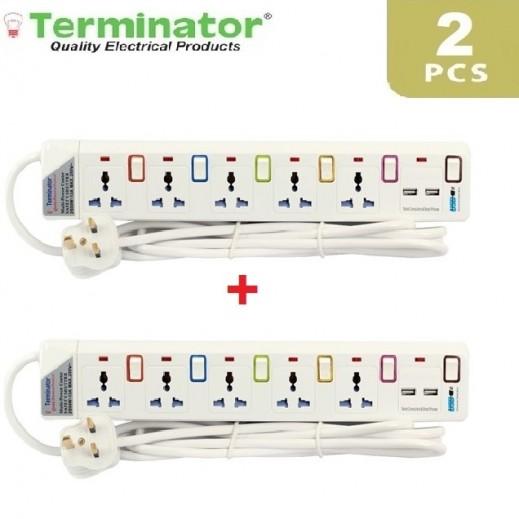 ترمونيتر - وصلة اشتراك كهربائية 5 مخارج و 2 منفذ USB بطول 3 متر – ابيض (2 حبة)