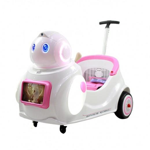 """سيارة سباقات للأطفال """"على شكل روبوت"""" (وردى) - يتم التوصيل بواسطة كليك تويز خلال 2 أيام عمل"""