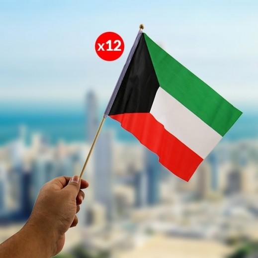 عدد 12 أعلام الكويت للإحتفال بالأعياد الوطنية بحجم 28 × 40 سم