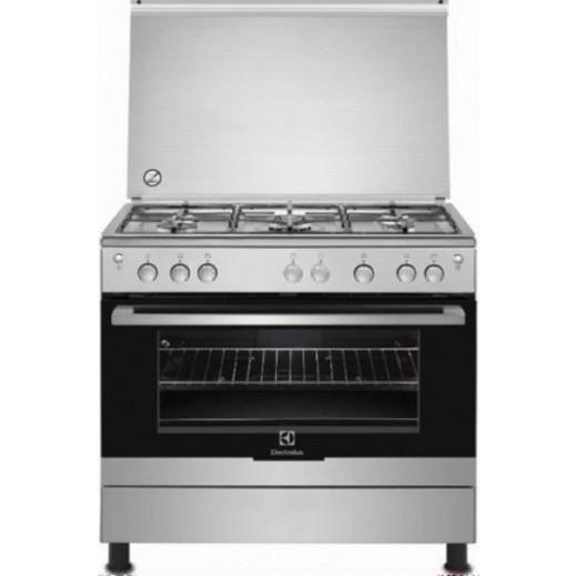 إلكترولوكس – طباخ غاز 5 شعلة 90 × 60 سم مع فرن وشواية – فضي - يتم التوصيل بواسطة Jashanmal & Partners خلال ثلاثة أيام عمل
