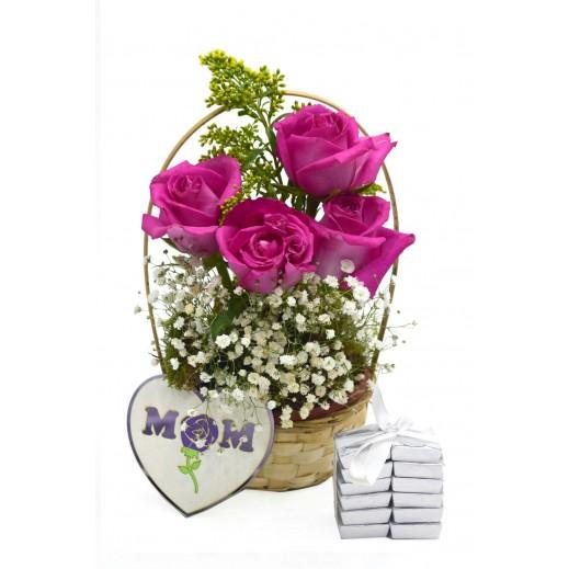 سلة زهور وردية مع زهرة الجيبسوفيلا  - يتم التوصيل بواسطة Covent Palace