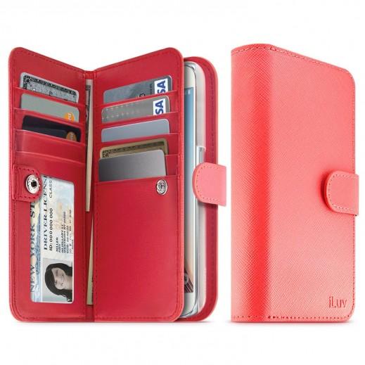 آي لوف غطاء محفظة JSTYLE جلد اصلي مع فتحات متعددة للبطاقات والمال لجالكسي S6 لون احمر