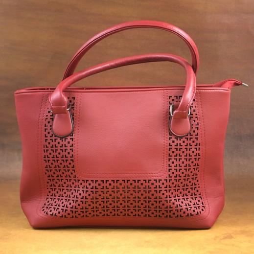 عنابي - حقيبة يد PU جلدية للسيدات - أحمر
