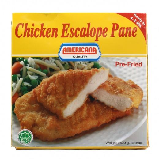 """أمريكانا - فيليه صدور الدجاج """" إسكالوب بانيه """" مغلفة بدقيق الخبز 500 جم"""