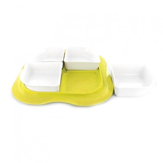 ستيلو - صينية بأوعية مع غطاء للفواكه الجافة والمكسرات – شكل مربع بلون أصفر