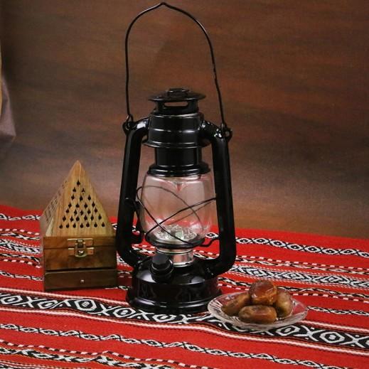 فانوس رمضان مع لمبات LED - أسود