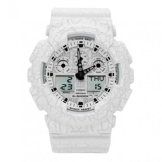 كاسيو - ساعة يد رقمي وتناظري G-SHOCK بحزام راتينج للرجال - أبيض  - يتم التوصيل بواسطة Veerup General Trading