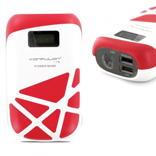 كونفلون بطارية شحن احتياطية 10,000 مللي امبير منفذين USB ومصباح يدوي احمر