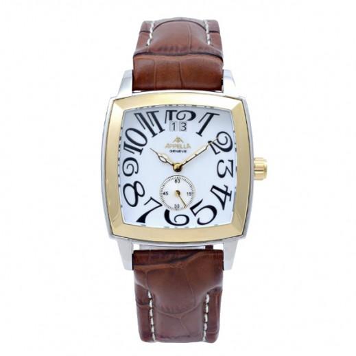 أبيلا – ساعة يد سويسرية للرجال بحزام جلدي بني وهيكل ذهبي (AP-625.01.0.1.01)