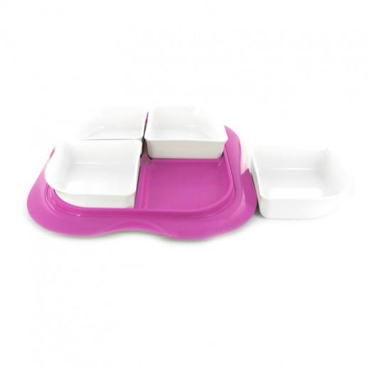ستيلو - صينية بأوعية مع غطاء للفواكه الجافة والمكسرات – شكل مربع بلون بنفسجي