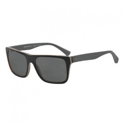 امبوريو أرماني – نظارة شمسية للرجال أسود غير لامع/رمادي بلوري موديل EAR 4048 5390 81 مقاس 56