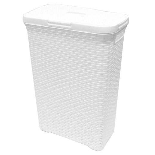 سلة غسيل مع غطاء – أبيض