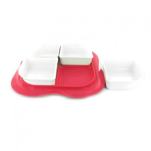 ستيلو - صينية بأوعية مع غطاء للفواكه الجافة والمكسرات – شكل مربع بلون أحمر