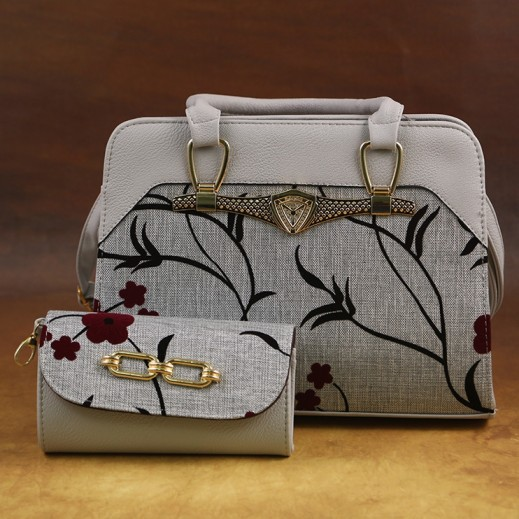 عنابي - حقيبة يد PU جلدية للسيدات مع حافظة نقود - رمادي