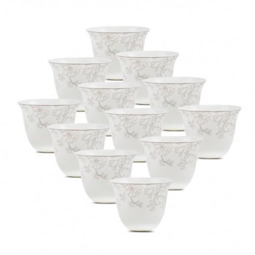 طقم فناجين من البورسلان بتصميم وردي 12 قطعة