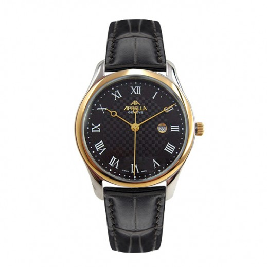 أبيلا – ساعة يد سويسرية للرجال بحزام جلدي بني وهيكل ذهبي (AP-627 02.0.1.04)