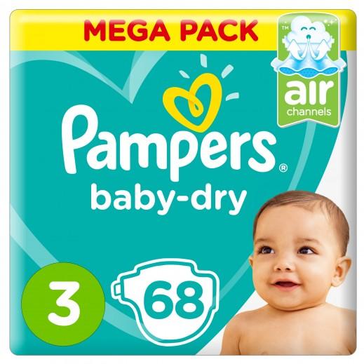 بامبرز - حفاضات Baby-Dry مقاس 3 وسط، 6 - 10 كجم 68 حفاضة