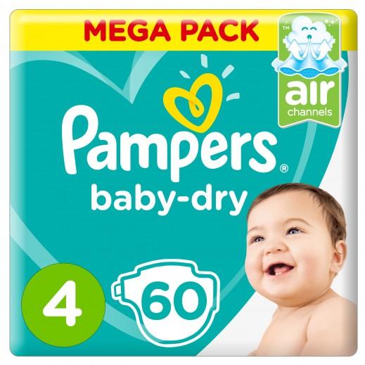 بامبرز - حفاضات Baby-Dry مقاس 4 ماكسي، 9 - 14 كجم 60 حفاضة