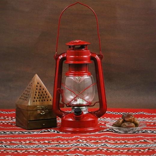 فانوس رمضان مع لمبات LED - أحمر