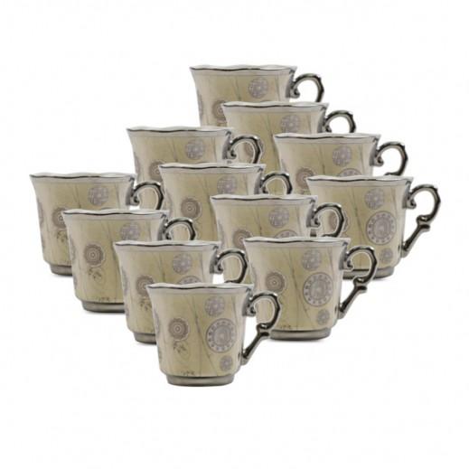 طقم فناجين قهوة وأطباق بورسلان 12 حبة( مزخرف بإطار فضي)