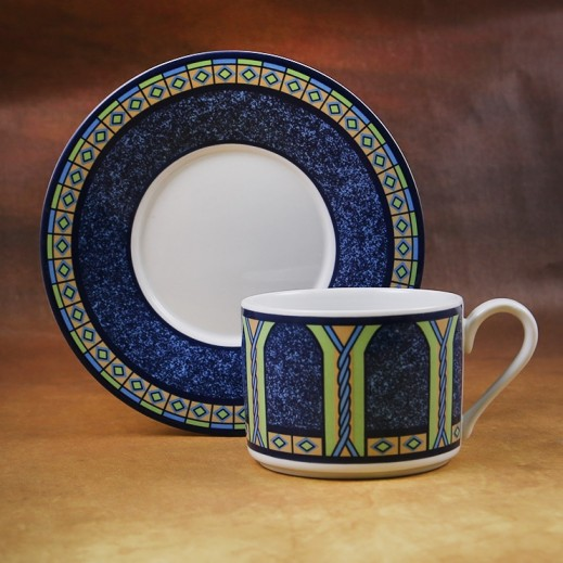 توجنانا – طقم فناجين شاي بورسلان مع طبق بتصميم أزرق 12 قطعة