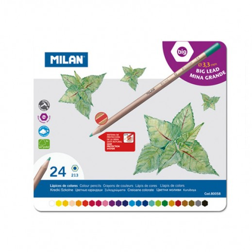 ميلان - طقم أقلام تلوين خشبية في صندوق معدني 24 قلم