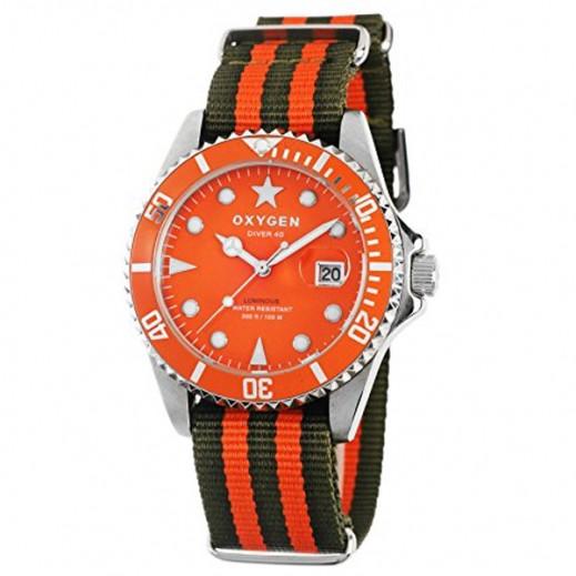 """أكسجين – ساعة """"دايفر"""" لكلا الجنسين بحزام كاكي/برتقالي موديل EX-D-SEA-40"""