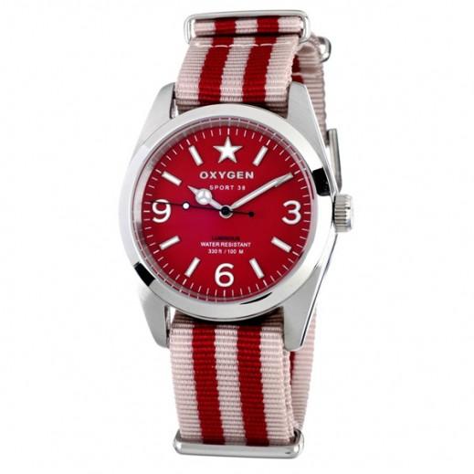 """أكسجين – ساعة """"سبورت"""" للسيدات بحزام عاجي/أحمر موديل EX-S-RUB-38"""